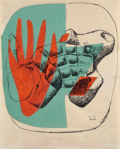 LE CORBUSIER , 1951 - Main et silex - Design