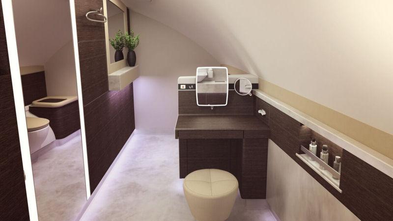 Gli interni nella toilette delle nuove Suite a bordo degli Airbus 380 di Singapore Airlines