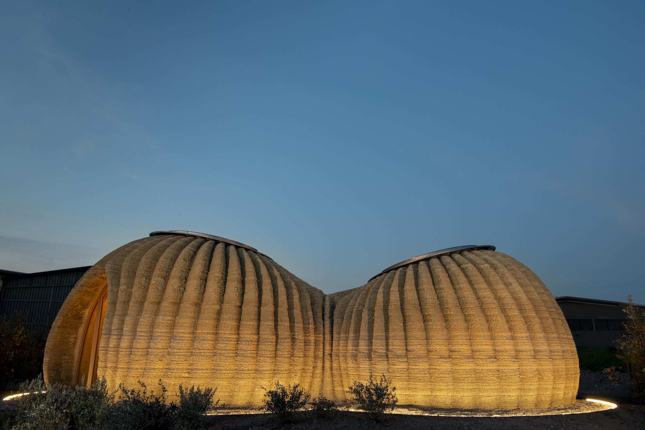 Mario Cucinella Architects, TECLA, Ravenna, 2021, External Dawn View, Photo by Iago Corazza