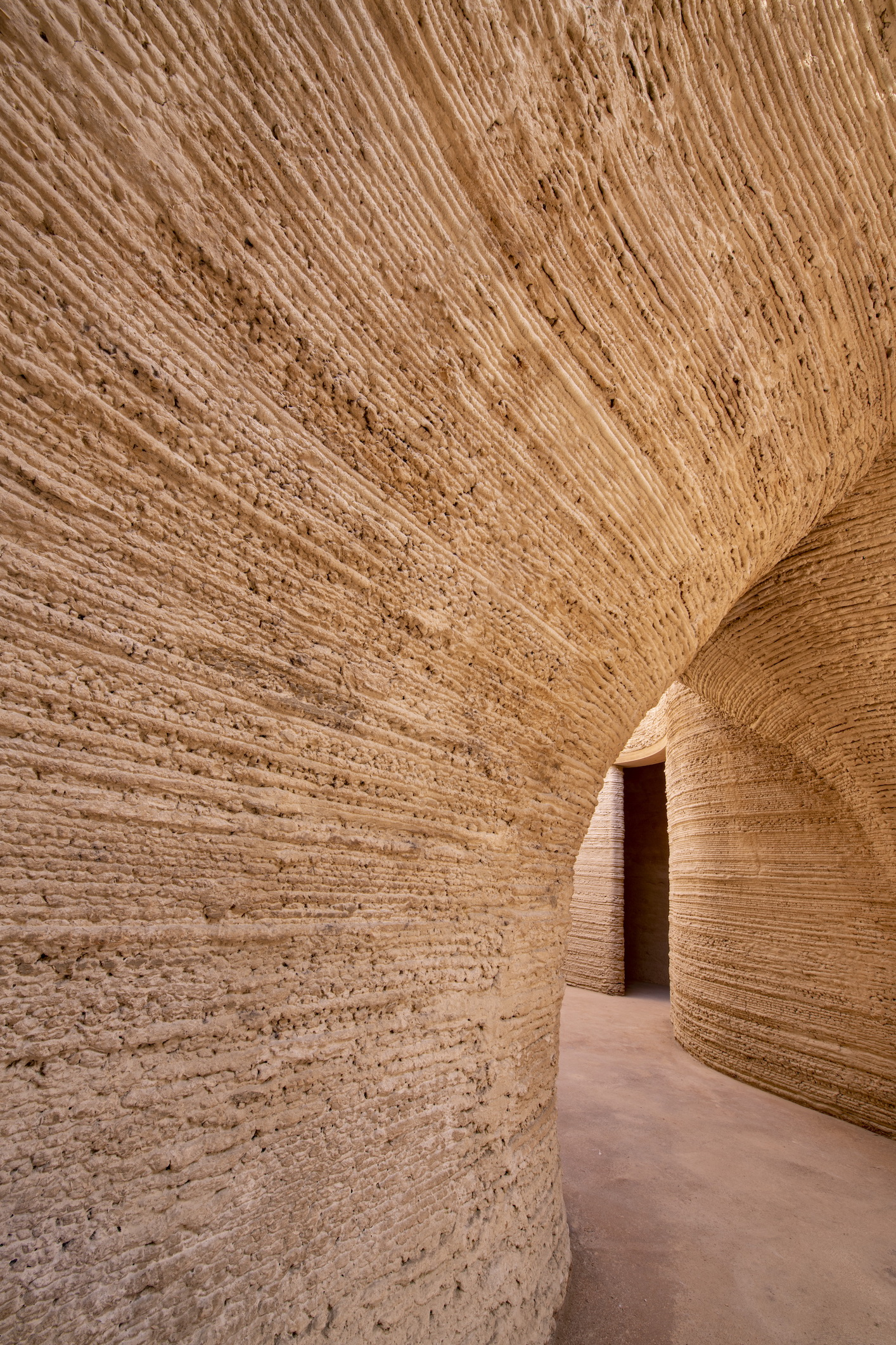 Mario Cucinella Architects, TECLA, Ravenna, 2021, Passage Detail from Living Room to Night Area, Photo by Iago Corazza